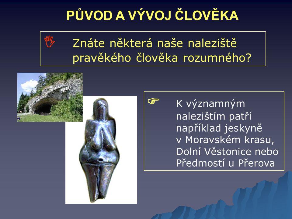 PŮVOD A VÝVOJ ČLOVĚKA  Znáte některá naše naleziště pravěkého člověka rozumného?  K významným nalezištím patří například jeskyně v Moravském krasu,