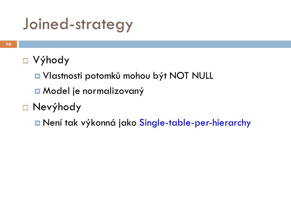 Joined-strategy  Výhody  Vlastnosti potomků mohou být NOT NULL  Model je normalizovaný  Nevýhody  Není tak výkonná jako Single-table-per-hierarch