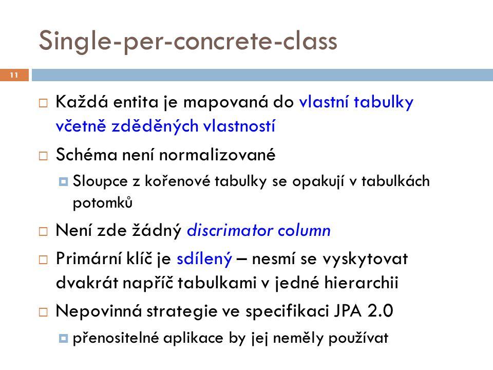 Single-per-concrete-class  Každá entita je mapovaná do vlastní tabulky včetně zděděných vlastností  Schéma není normalizované  Sloupce z kořenové tabulky se opakují v tabulkách potomků  Není zde žádný discrimator column  Primární klíč je sdílený – nesmí se vyskytovat dvakrát napříč tabulkami v jedné hierarchii  Nepovinná strategie ve specifikaci JPA 2.0  přenositelné aplikace by jej neměly používat 11