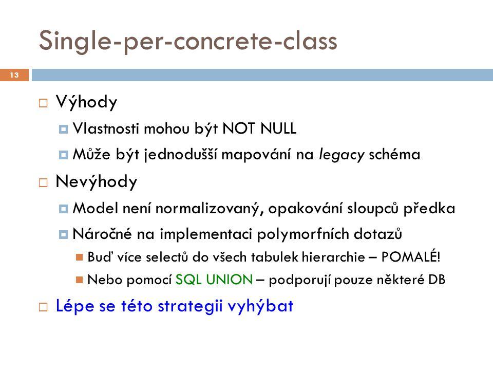 Single-per-concrete-class  Výhody  Vlastnosti mohou být NOT NULL  Může být jednodušší mapování na legacy schéma  Nevýhody  Model není normalizovaný, opakování sloupců předka  Náročné na implementaci polymorfních dotazů Buď více selectů do všech tabulek hierarchie – POMALÉ.