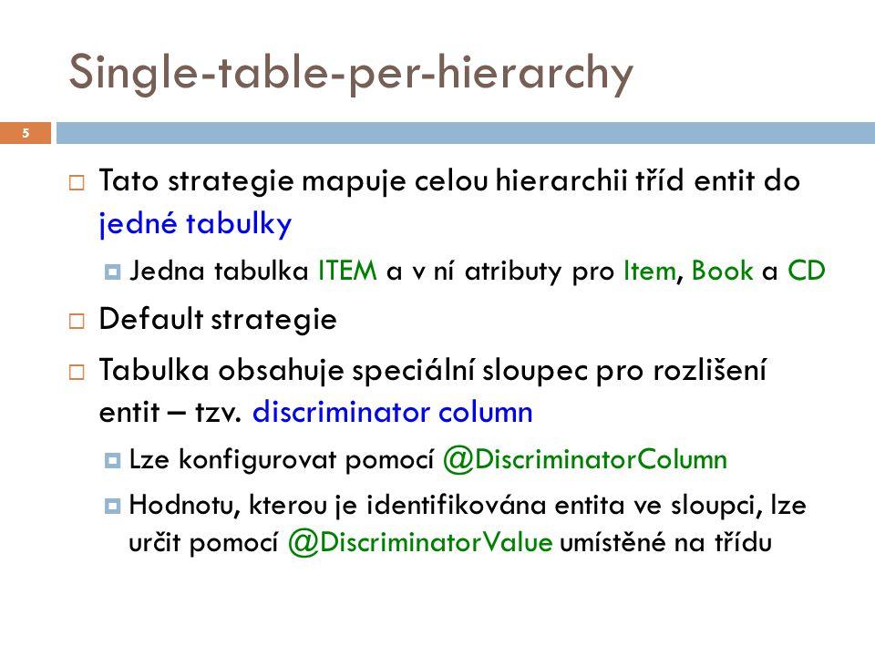Single-table-per-hierarchy  Tato strategie mapuje celou hierarchii tříd entit do jedné tabulky  Jedna tabulka ITEM a v ní atributy pro Item, Book a CD  Default strategie  Tabulka obsahuje speciální sloupec pro rozlišení entit – tzv.