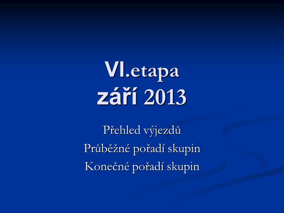 VI.etapa září 2013 Přehled výjezdů Průběžné pořadí skupin Konečné pořadí skupin