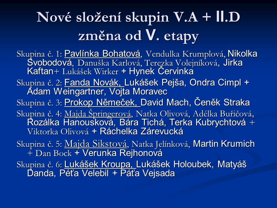 Nové složení skupin V.A + II.D změna od V. etapy Skupina č. 1: Pavlínka Bohatová, Vendulka Krumplová, Nikolka Svobodová, Danuška Karlová, Terezka Vole