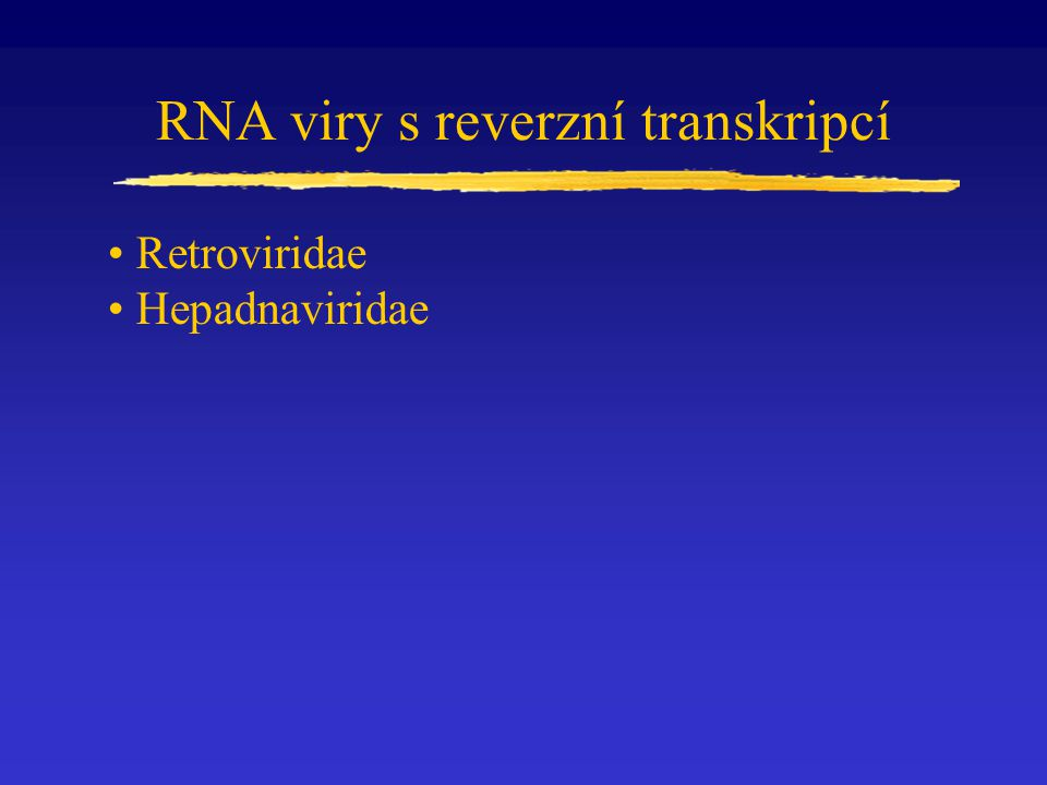 Čeleď Retroviridae obalené viry sférický tvar, velikost přibližně 100 nm ss RNA (pozitivní polarita) přibližně 10 000 nt.
