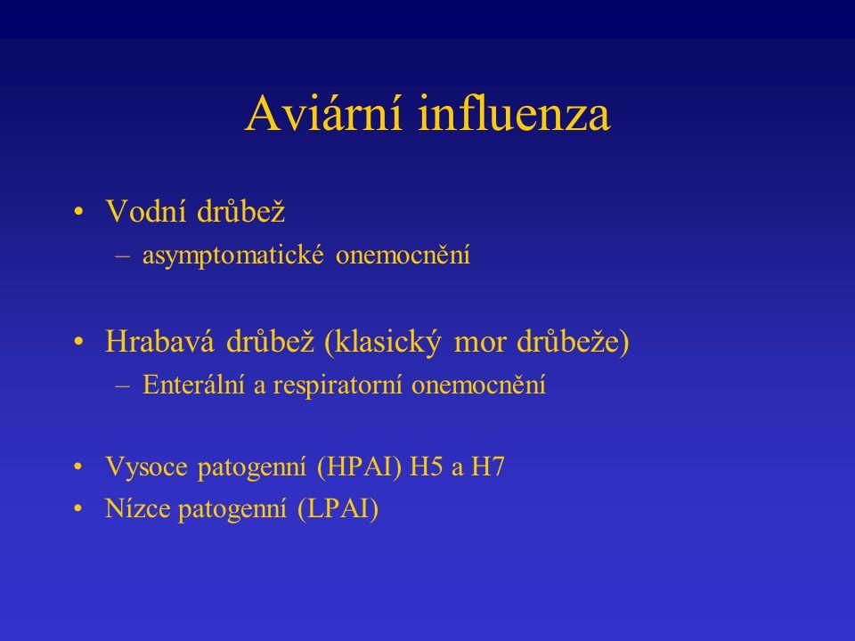 Aviární influenza Vodní drůbež –asymptomatické onemocnění Hrabavá drůbež (klasický mor drůbeže) –Enterální a respiratorní onemocnění Vysoce patogenní (HPAI) H5 a H7 Nízce patogenní (LPAI)