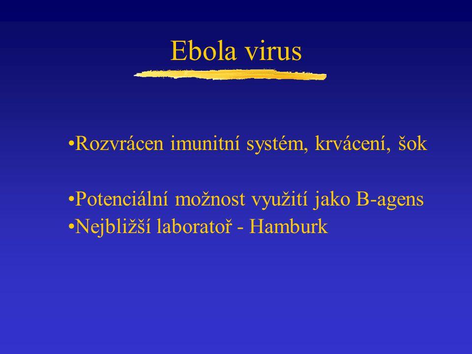 Rozvrácen imunitní systém, krvácení, šok Potenciální možnost využití jako B-agens Nejbližší laboratoř - Hamburk Ebola virus