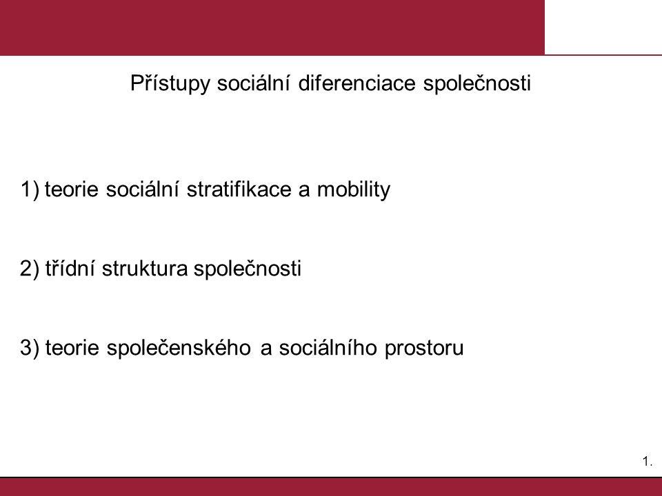 1.1. Přístupy sociální diferenciace společnosti 1)teorie sociální stratifikace a mobility 2) třídní struktura společnosti 3) teorie společenského a so