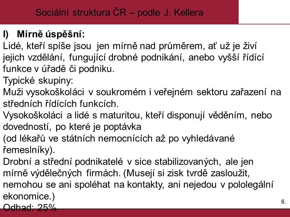 6.6. Sociální struktura ČR – podle J. Kellera I) Mírně úspěšní: Lidé, kteří spíše jsou jen mírně nad průměrem, ať už je živí jejich vzdělání, fungujíc