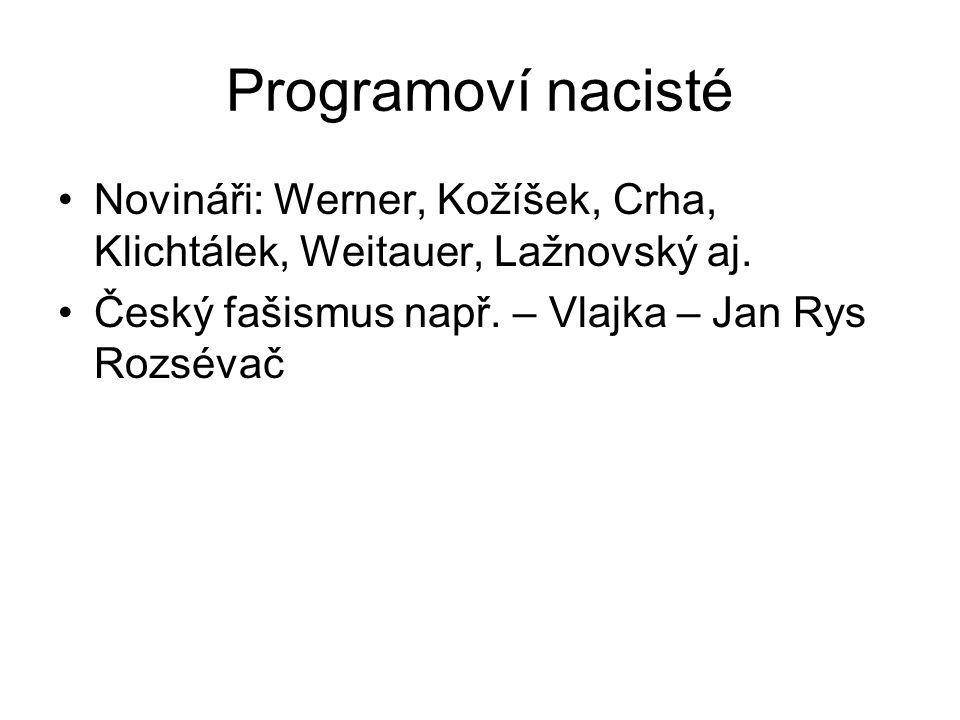 Programoví nacisté Novináři: Werner, Kožíšek, Crha, Klichtálek, Weitauer, Lažnovský aj. Český fašismus např. – Vlajka – Jan Rys Rozsévač