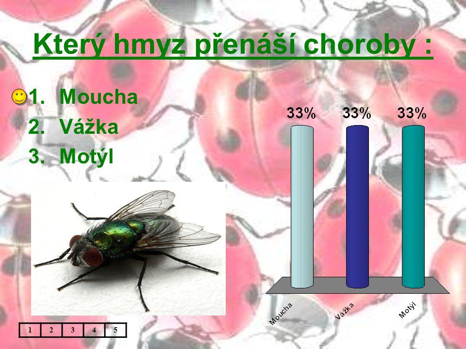 Který hmyz přenáší choroby : 1.Moucha 2.Vážka 3.Motýl 12345
