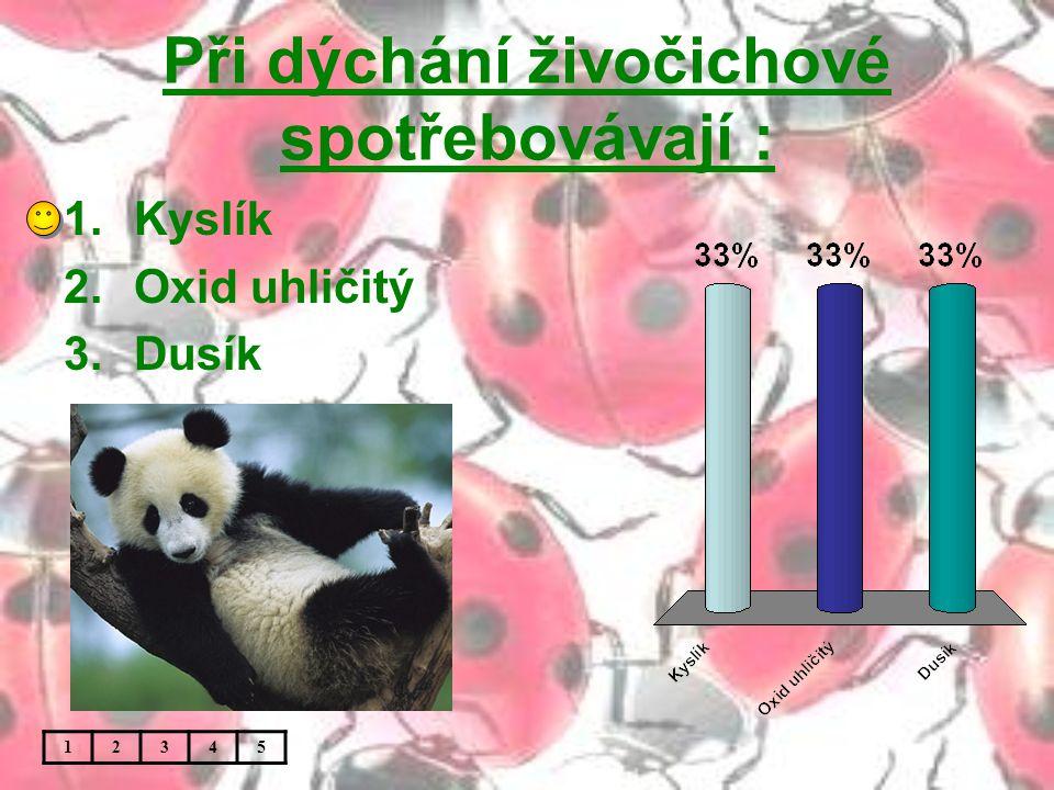 Při dýchání živočichové spotřebovávají : 1.Kyslík 2.Oxid uhličitý 3.Dusík 12345