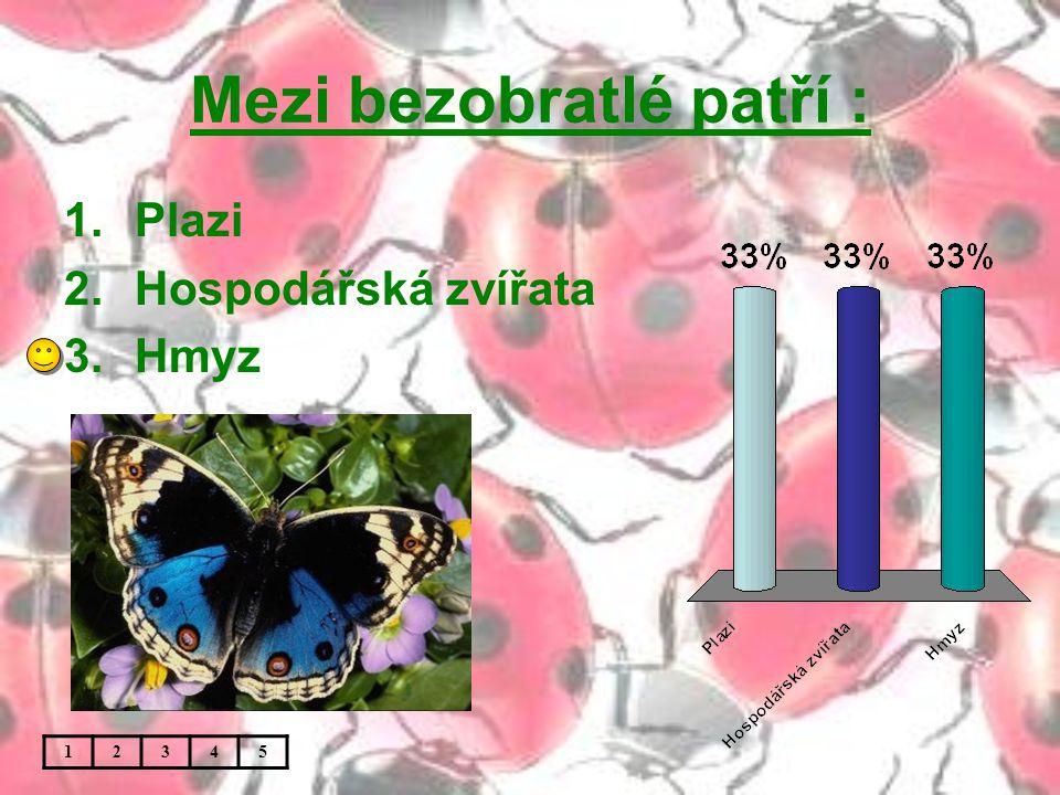 Mezi bezobratlé patří : 1.Plazi 2.Hospodářská zvířata 3.Hmyz 12345