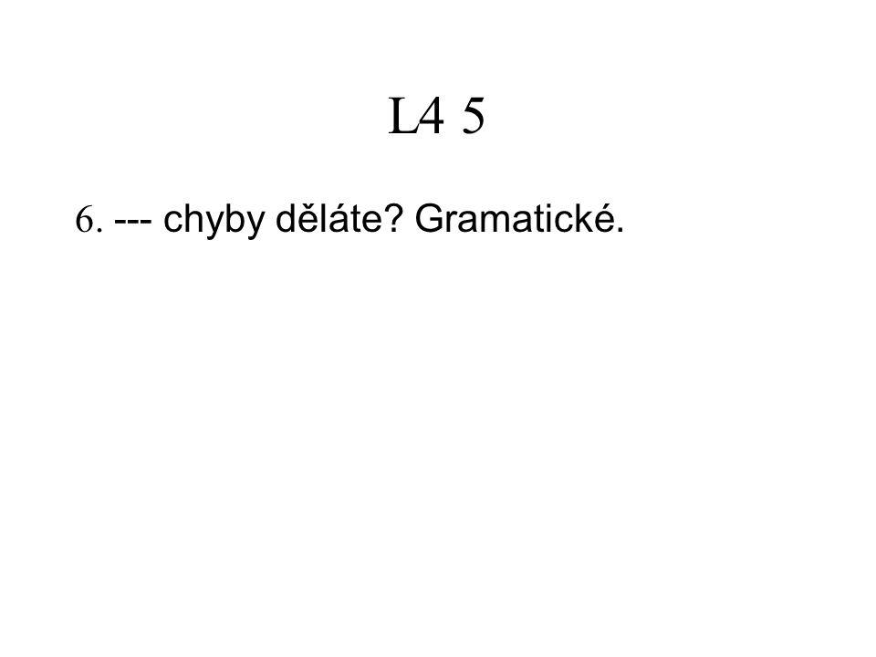 L4 5 6. --- chyby děláte? Gramatické.