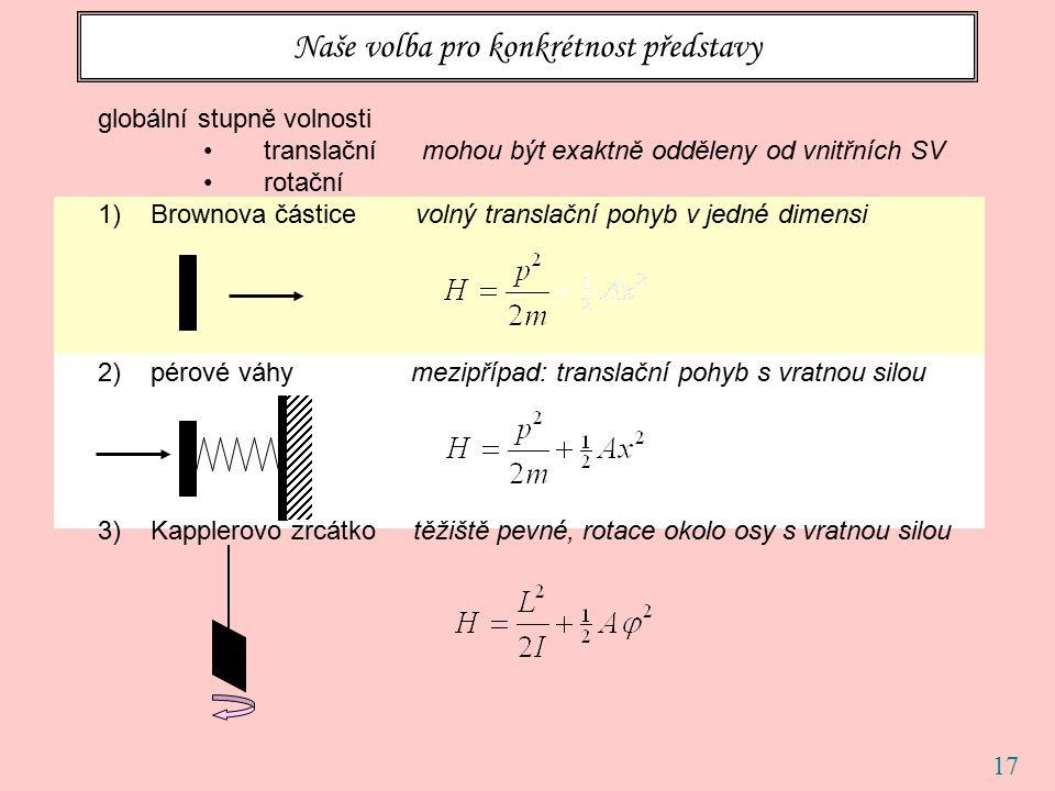 17 Naše volba pro konkrétnost představy globální stupně volnosti translační mohou být exaktně odděleny od vnitřních SV rotační 1)Brownova částice volný translační pohyb v jedné dimensi 2)pérové váhy mezipřípad: translační pohyb s vratnou silou 3)Kapplerovo zrcátko těžiště pevné, rotace okolo osy s vratnou silou