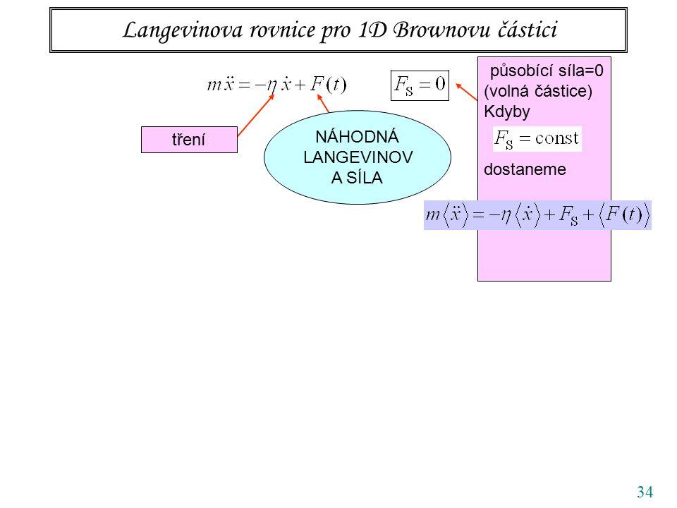 34 Langevinova rovnice pro 1D Brownovu částici tření působící síla=0 (volná částice) Kdyby dostaneme NÁHODNÁ LANGEVINOV A SÍLA