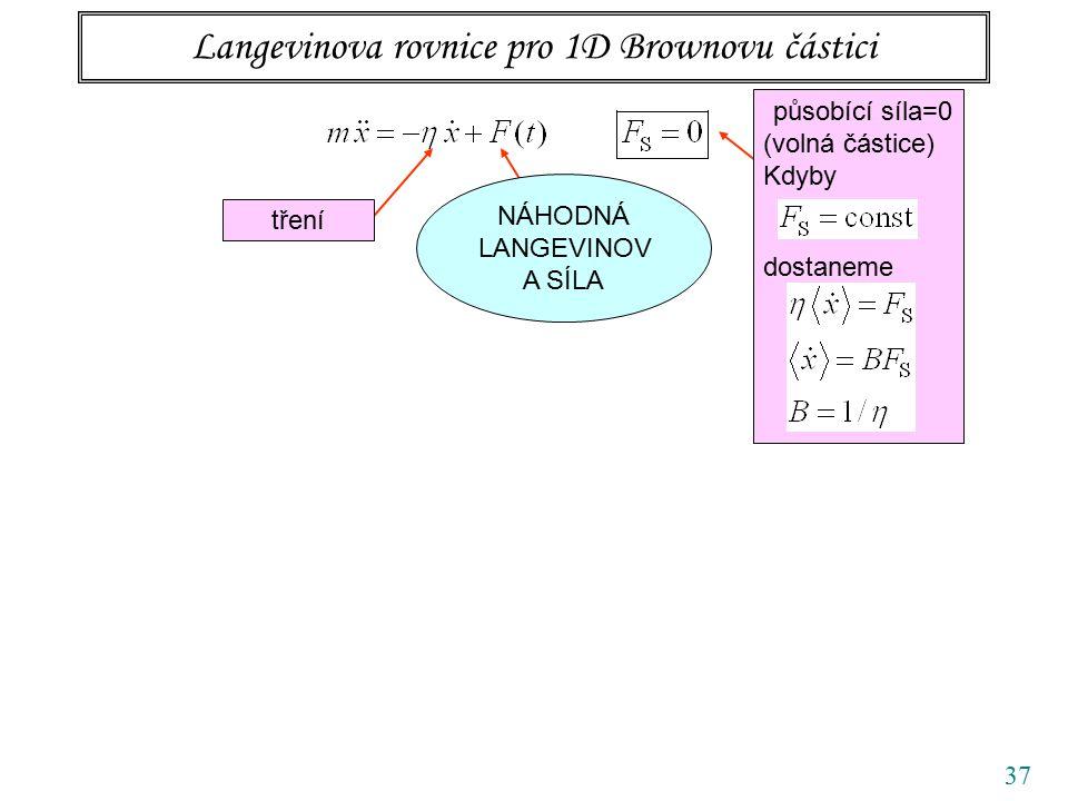 37 Langevinova rovnice pro 1D Brownovu částici tření působící síla=0 (volná částice) Kdyby dostaneme NÁHODNÁ LANGEVINOV A SÍLA