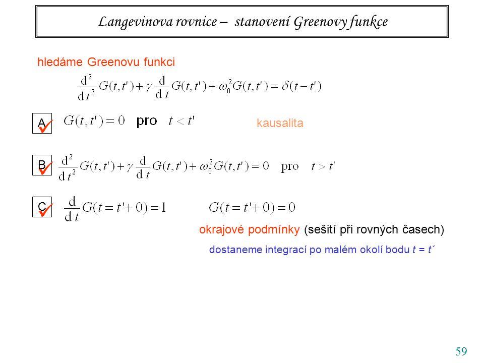 59 Langevinova rovnice – stanovení Greenovy funkce hledáme Greenovu funkci A kausalita B C okrajové podmínky (sešití při rovných časech) dostaneme integrací po malém okolí bodu t = t´