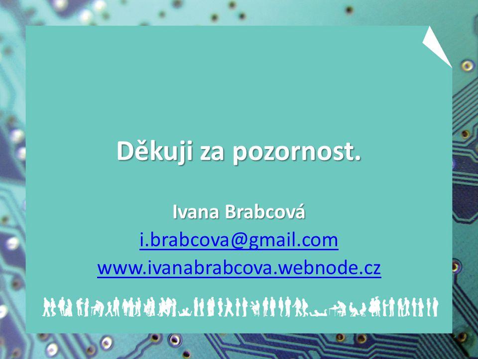 Děkuji za pozornost. Ivana Brabcová i.brabcova@gmail.com www.ivanabrabcova.webnode.cz