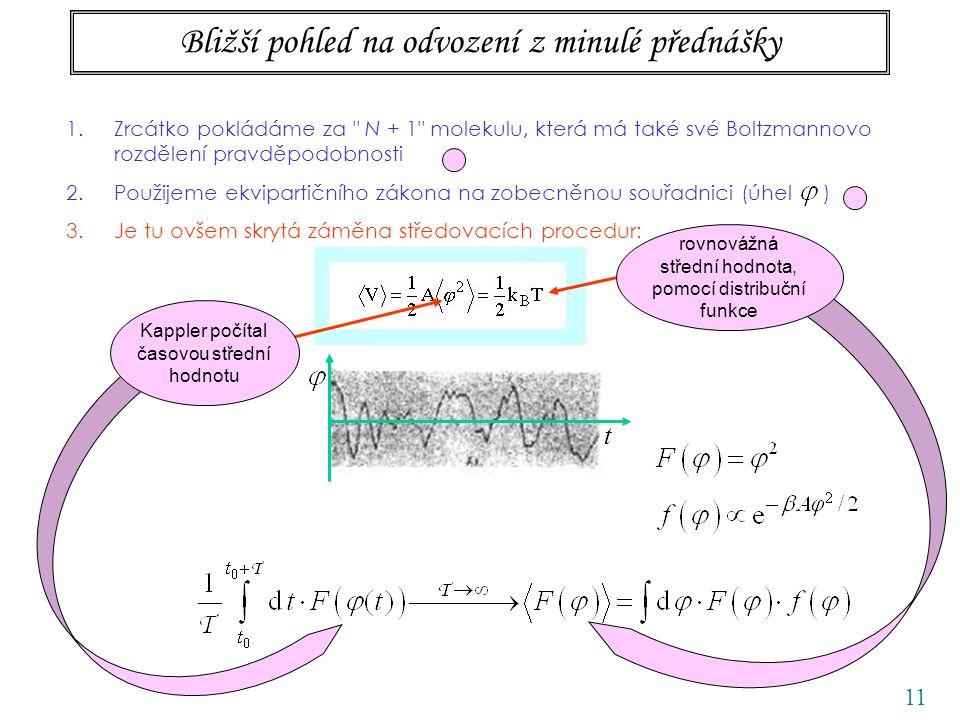 11 Bližší pohled na odvození z minulé přednášky 1.Zrcátko pokládáme za N + 1 molekulu, která má také své Boltzmannovo rozdělení pravděpodobnosti 2.Použijeme ekvipartičního zákona na zobecněnou souřadnici (úhel ) 3.Je tu ovšem skrytá záměna středovacích procedur: t ERGODICKÝ PŘEDPOKLAD Kappler počítal časovou střední hodnotu rovnovážná střední hodnota, pomocí distribuční funkce