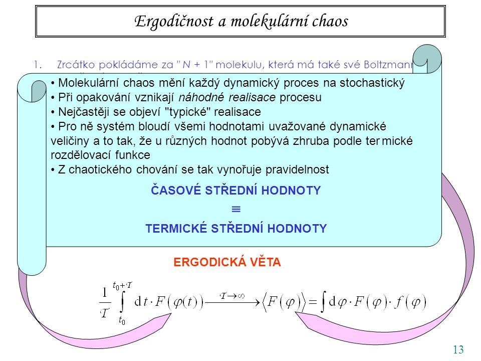 13 Ergodičnost a molekulární chaos 1.Zrcátko pokládáme za