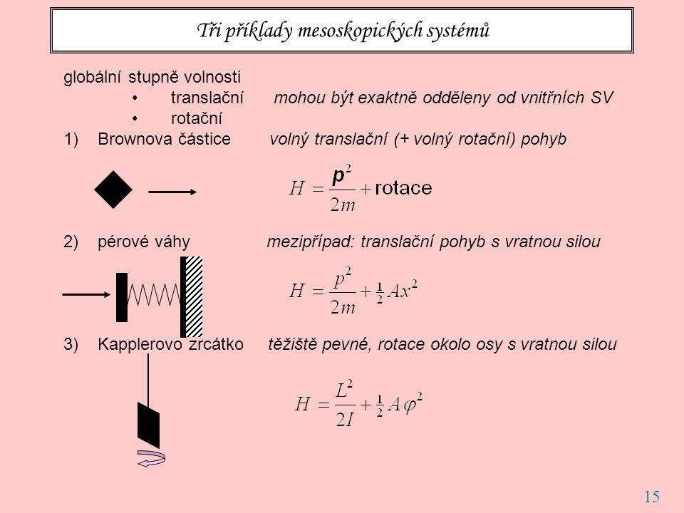 15 Tři příklady mesoskopických systémů globální stupně volnosti translační mohou být exaktně odděleny od vnitřních SV rotační 1)Brownova částice volný