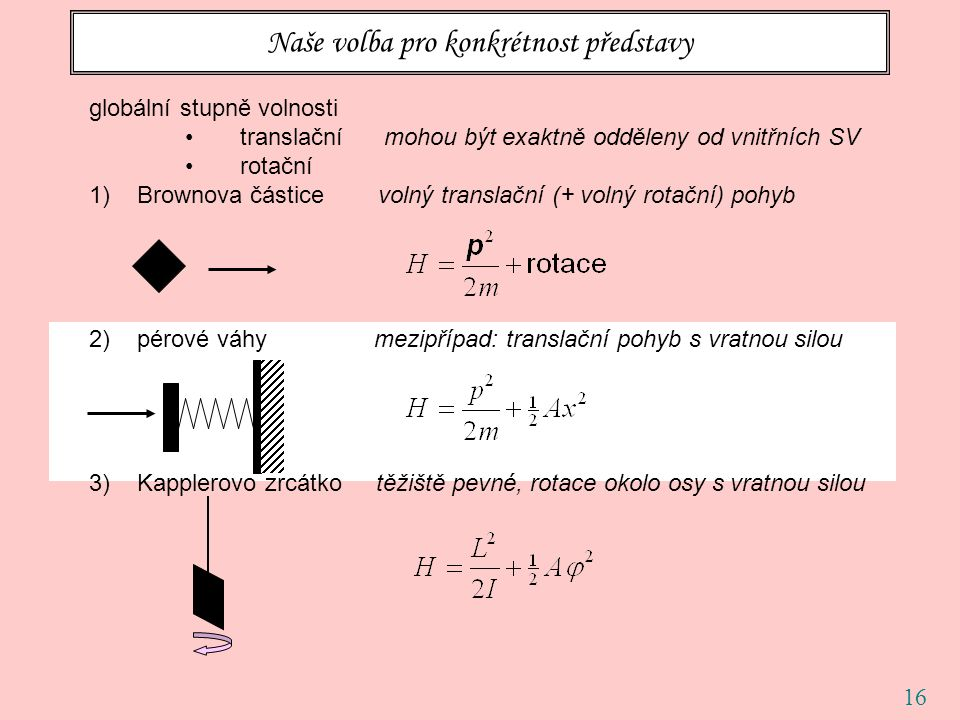 16 Naše volba pro konkrétnost představy globální stupně volnosti translační mohou být exaktně odděleny od vnitřních SV rotační 1)Brownova částice voln