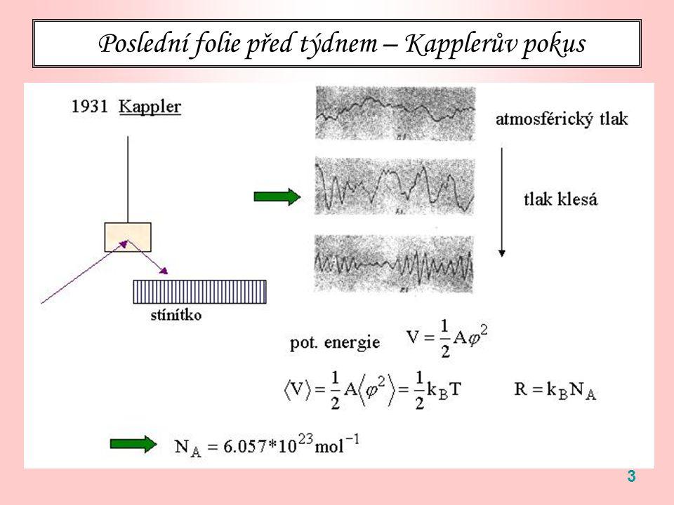 94 Ekvipartiční teorém je obecně platný za následujících předpokladů: Systém je klasický ( fatálně důležité … viz Planckova funkce) Uvažovaný stupeň volnosti (p nebo q) vystupuje v celkovém hamiltoniánu jen jako aditivní kvadratická funkce, typicky Pak Tento výsledek pokrývá mimo jiné Kapplerovský výpočet.