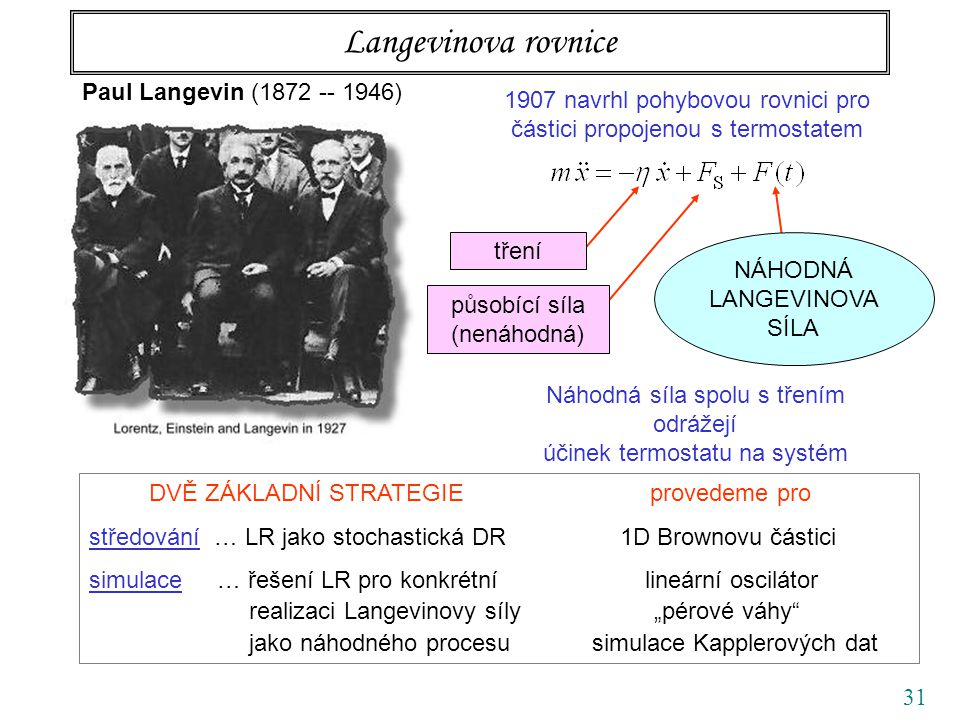 31 Langevinova rovnice Paul Langevin (1872 -- 1946) 1907 navrhl pohybovou rovnici pro částici propojenou s termostatem tření působící síla (nenáhodná)