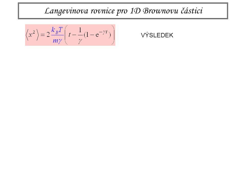 Langevinova rovnice pro 1D Brownovu částici VÝSLEDEK