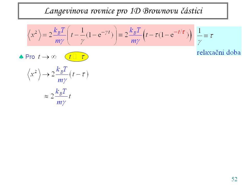 Langevinova rovnice pro 1D Brownovu částici 52  Pro