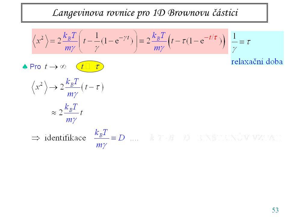 Langevinova rovnice pro 1D Brownovu částici 53  Pro