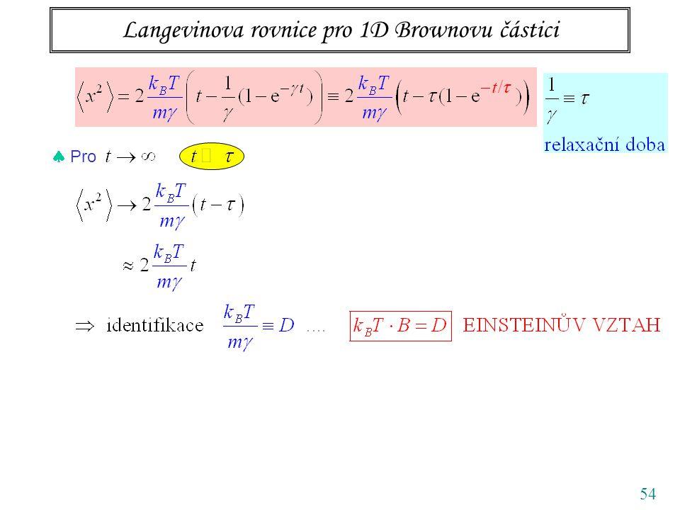 Langevinova rovnice pro 1D Brownovu částici 54  Pro