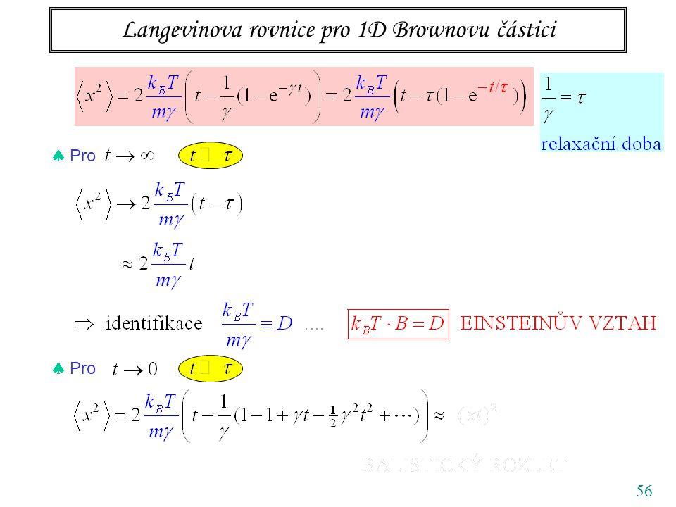Langevinova rovnice pro 1D Brownovu částici 56  Pro