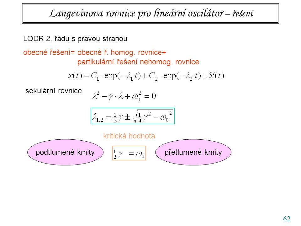 62 Langevinova rovnice pro lineární oscilátor – řešení LODR 2. řádu s pravou stranou obecné řešení= obecné ř. homog. rovnice+ partikulární řešení neho