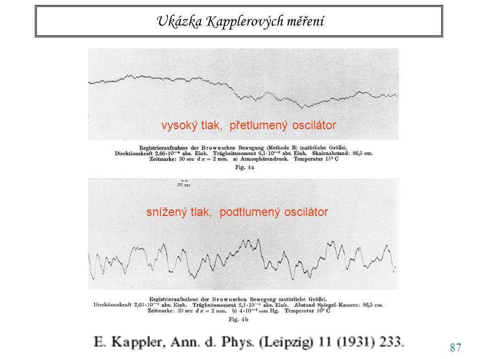 87 Ukázka Kapplerových měření vysoký tlak, přetlumený oscilátor snížený tlak, podtlumený oscilátor