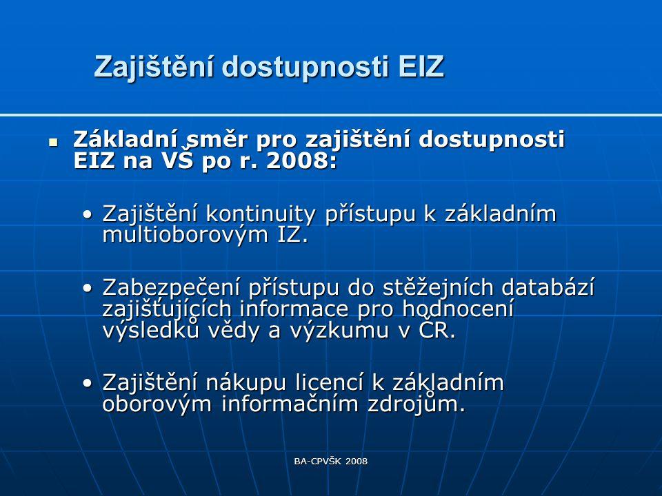 BA-CPVŠK 2008 Příprava na zajištění dostupnosti odborných EIZ na VŠ z programu INFOZ Příprava na zajištění dostupnosti odborných EIZ na VŠ z programu INFOZ Jednání s poskytovateli a vydavateli EIZ a s řešiteli projektů o finančních modelech a licenčních podmínkách.Jednání s poskytovateli a vydavateli EIZ a s řešiteli projektů o finančních modelech a licenčních podmínkách.