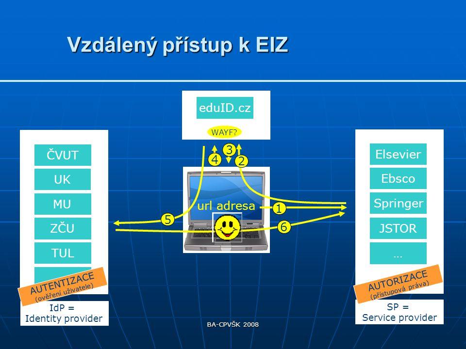 BA-CPVŠK 2008 Pro vzdálený přístup k EIZ nutnost jednání s jednotlivými poskytovateli databází o jejich připojení do eduID.Pro vzdálený přístup k EIZ nutnost jednání s jednotlivými poskytovateli databází o jejich připojení do eduID.