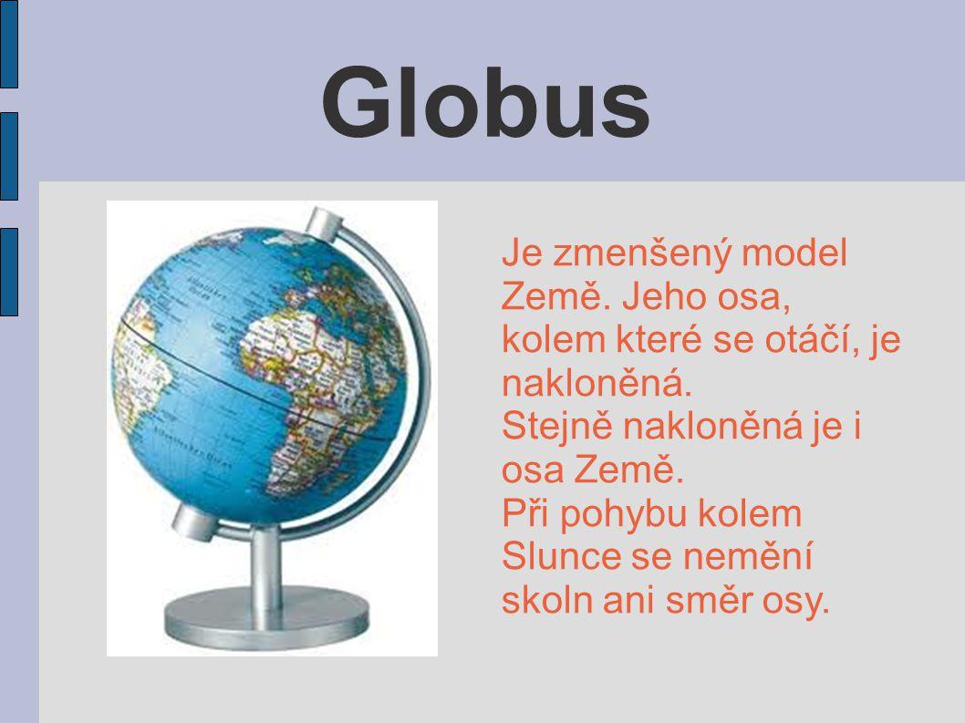 Globus Je zmenšený model Země. Jeho osa, kolem které se otáčí, je nakloněná. Stejně nakloněná je i osa Země. Při pohybu kolem Slunce se nemění skoln a