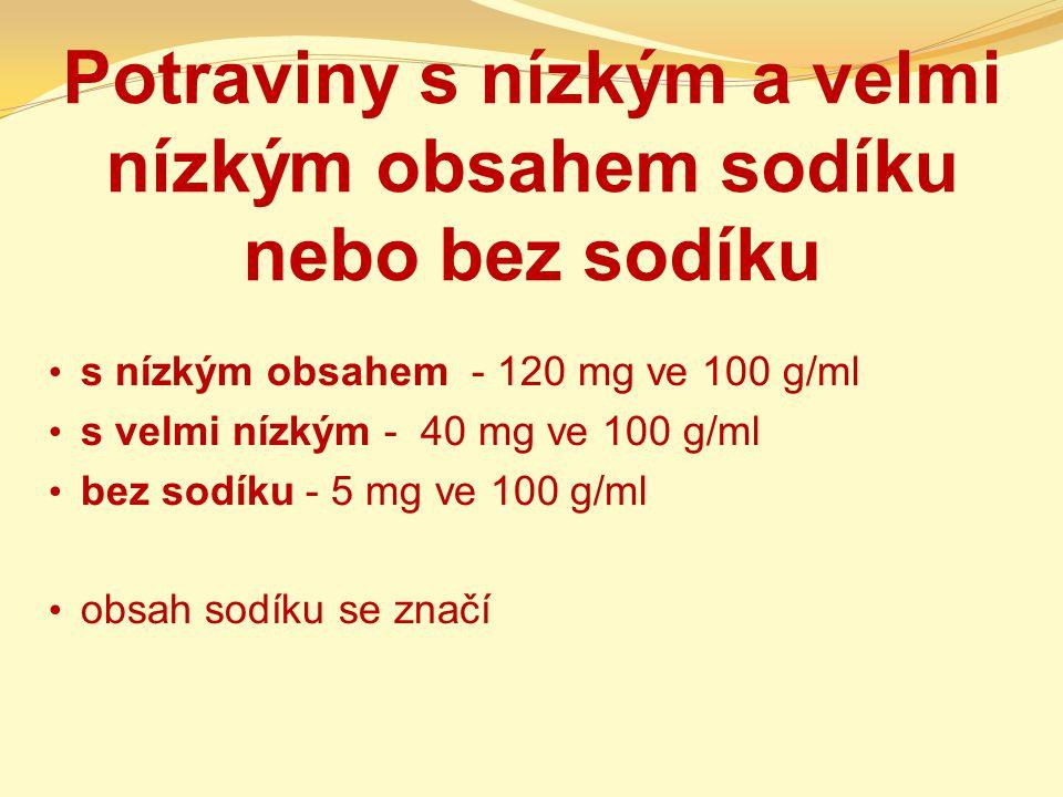 Potraviny s nízkým a velmi nízkým obsahem sodíku nebo bez sodíku s nízkým obsahem - 120 mg ve 100 g/ml s velmi nízkým - 40 mg ve 100 g/ml bez sodíku -