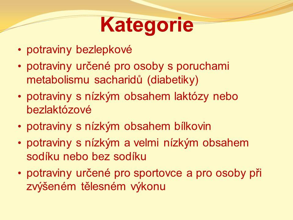 Kategorie potraviny bezlepkové potraviny určené pro osoby s poruchami metabolismu sacharidů (diabetiky) potraviny s nízkým obsahem laktózy nebo bezlak