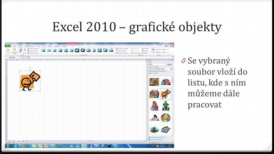 Excel 2010 – grafické objekty 0 Se vybraný soubor vloží do listu, kde s ním můžeme dále pracovat