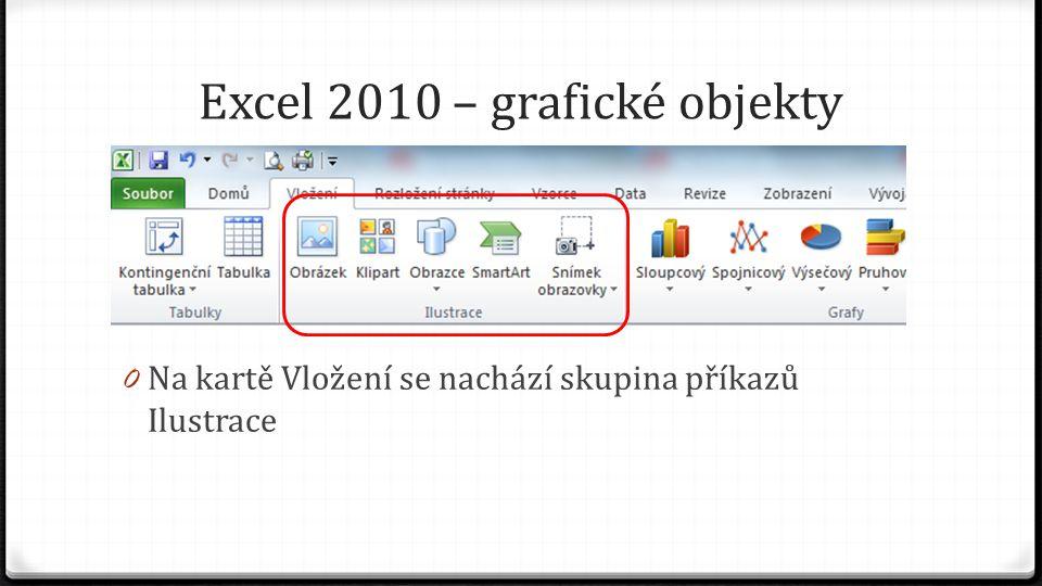 Excel 2010 – grafické objekty 0 Na kartě Vložení se nachází skupina příkazů Ilustrace