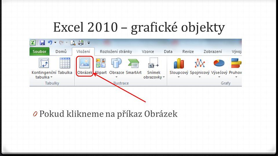 Excel 2010 – grafické objekty 0 Pokud klikneme na příkaz Obrázek