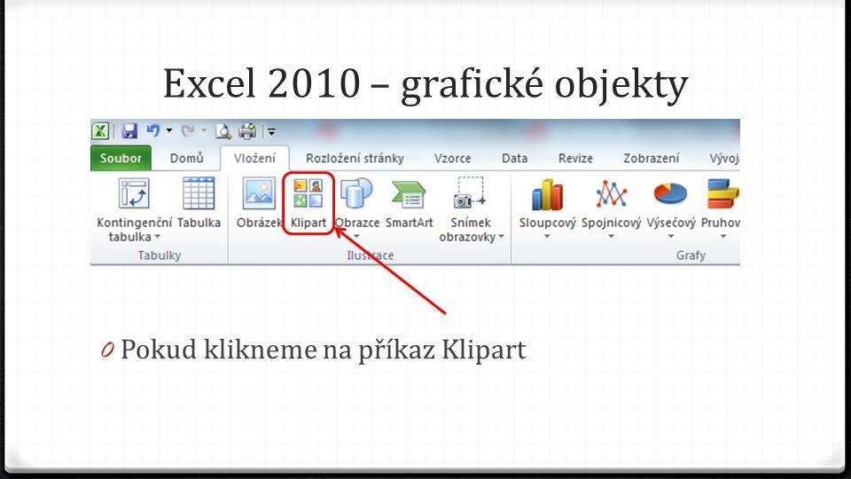 Excel 2010 – grafické objekty 0 Pokud klikneme na příkaz Klipart