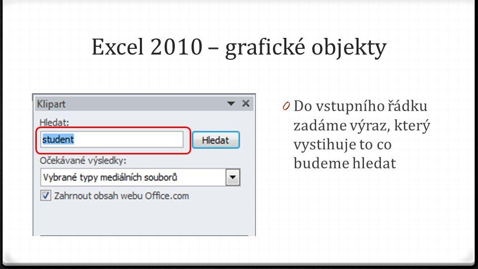 Excel 2010 – grafické objekty 0 Do vstupního řádku zadáme výraz, který vystihuje to co budeme hledat