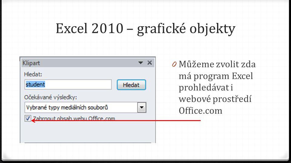 Excel 2010 – grafické objekty 0 Můžeme zvolit zda má program Excel prohledávat i webové prostředí Office.com