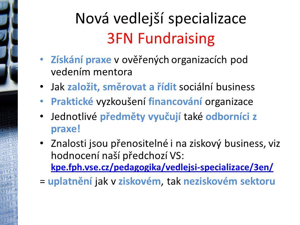 Nová vedlejší specializace 3FN Fundraising Získání praxe v ověřených organizacích pod vedením mentora Jak založit, směrovat a řídit sociální business Praktické vyzkoušení financování organizace Jednotlivé předměty vyučují také odborníci z praxe.