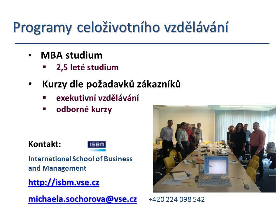 Programy celoživotního vzdělávání Programy celoživotního vzdělávání MBA studium  2,5 leté studium Kurzy dle požadavků zákazníků  exekutivní vzdělává