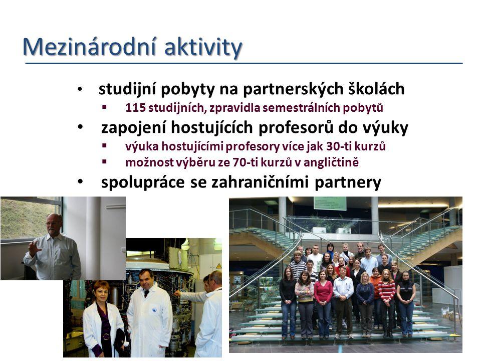 Mezinárodní aktivity Mezinárodní aktivity studijní pobyty na partnerských školách  115 studijních, zpravidla semestrálních pobytů zapojení hostujícíc