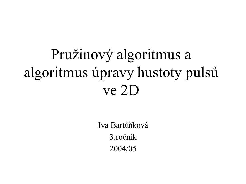 Pružinový algoritmus a algoritmus úpravy hustoty pulsů ve 2D Iva Bartůňková 3.ročník 2004/05